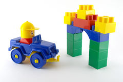 Blue car - mechanical plastic toy Stock Images