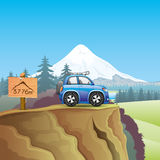 Blue car and mountain. Stock Image