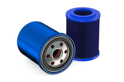 Blue Car Oil filters. Isolated on white background Royalty Free Stock Photo