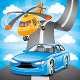 Blue car and orange helicopter. Stock Image
