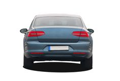 Blue car rear View Royalty Free Stock Images