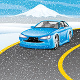 Blue car on the road. Royalty Free Stock Images