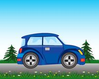 Blue car on road Stock Images