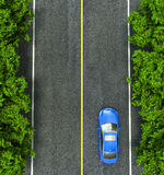 Blue car on the road, the view from the top Stock Image