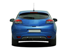 Blue car. Blue sports car on a white background, back view royalty free stock image