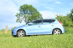 Blue car. Standing on green meadow with blue sky behind royalty free stock photos