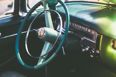 Blue Car Steering Wheel Royalty Free Stock Photos