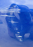 Blue car surface scratched Royalty Free Stock Photo