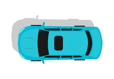 Blue Car Top View Flat Design Vector Illustration Royalty Free Stock Photography
