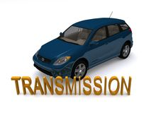 Blue car and transmission. A blue car on a white background with the word transmission in the foreground vector illustration