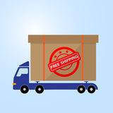 Blue car truck carry box icon free shipping concept Royalty Free Stock Photo