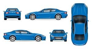 Blue sports car realistic vector illustration royalty free illustration