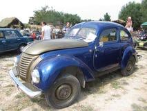 Blue car. Blue vintage car exhibition in the city of Essentuki Stock Photos