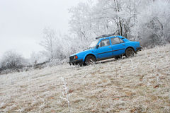 Blue car by winter forest Stock Photos