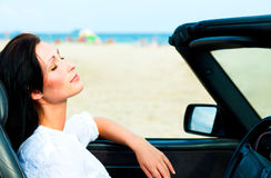 Blue car woman Royalty Free Stock Image
