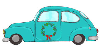 Blue car with wreath Royalty Free Stock Image