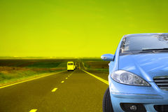 Blue Car on Yellow Royalty Free Stock Photography