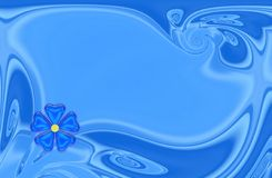 Blue card. Blue background frame with flower for card Royalty Free Stock Image