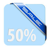 Blue card for big discount Stock Image