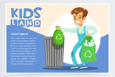 Blue card with boy throwing away bin bags filled with plastic bottles. Kid doing household chores. Colorful flat style Royalty Free Stock Photos