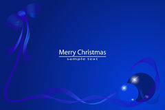 Blue Card Christmas. Bow, ribbons and balls Stock Photography