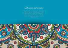 Blue card design with paisley pattern Stock Images