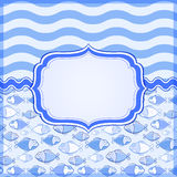 Blue Card with Elegant Label Frame. Blue Sea Card with Label Frame and Place for Text. Nautical Banner Royalty Free Stock Photo