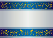 Blue card with floral gold design Royalty Free Stock Photos