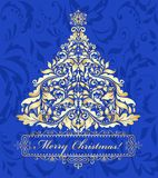 Blue card with golden christmas tree Royalty Free Stock Image