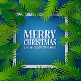 Blue card with green paper branches. Christmas and New Year blue colored background with green paper fir tree branches. Holiday decoration, Vector illustration Royalty Free Stock Photo
