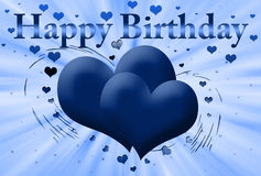 Blue card Happy birthday Stock Image