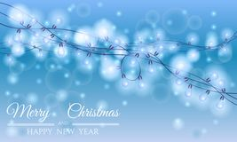Blue card happy christmas and happy new year with garland Stock Photography
