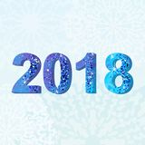 2018 blue card. 2018 Happy new year. Greeting card. Brilliant figures with an ice texture on a blue snowy winter background. Flat vector cartoon illustration Royalty Free Stock Photography