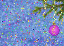 Blue card for the holiday with ball and ribbons. Blue card for the holiday with ball and varicoloured ribbons Stock Image