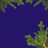 Blue card for the holiday with spruce branches. Dark blue card for the holiday with spruce branches Stock Photos