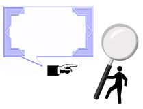 Blue card indicator of magnifying glass Stock Image