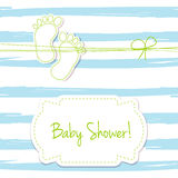 Blue  card invitation for baby shower, arrival or birthday card with  stripes and baby foot steps. Stock Photography