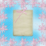 Blue card for invitation with pink bow Stock Photography