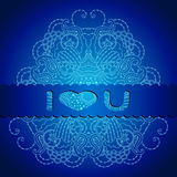 Blue card with mandala and a declaration of love. Royalty Free Stock Image