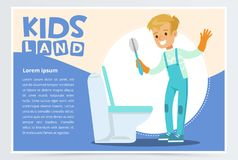 Blue card or poster with cute young boy in gloves cleaning toilet with brush. Kid doing a home cleanup, household chores Royalty Free Stock Photo