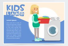 Blue card or poster with young girl standing with a basin with dirty laundry in hands near washing machine. Flat vector vector illustration