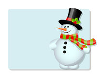 Blue card and snowman Royalty Free Stock Images