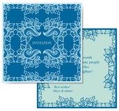 Blue card. Square invitation template - back and front Stock Images
