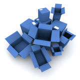 Blue Cardboard cartons Royalty Free Stock Photography