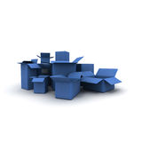 Blue Cardboard cartons lateral view Royalty Free Stock Photo