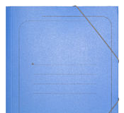 Blue Cardboard Folder. Suitable to write a title above. On white Stock Photo