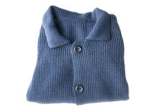 Blue cardigan. Object on white - clothes Blue cardigan Royalty Free Stock Images