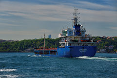 Blue Cargo boat Royalty Free Stock Images