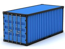 Blue cargo container Royalty Free Stock Image