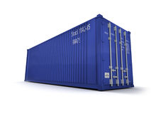 Blue cargo container. Against a white background Royalty Free Stock Photos